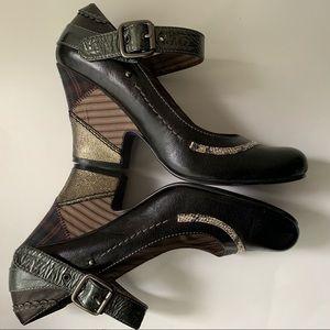 Anthro :: Bobbi Blu patchwork chunky heels